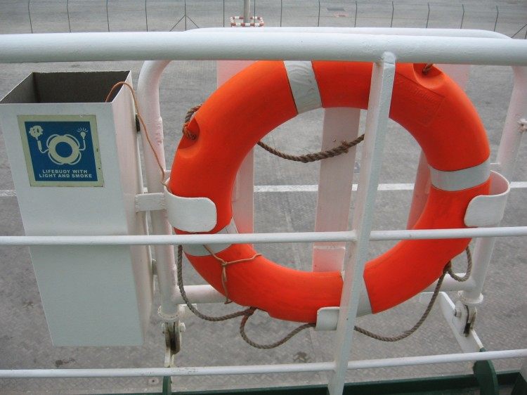 MOB Marker attached to lifebuoy - photo by Sunil Unnikrishnan