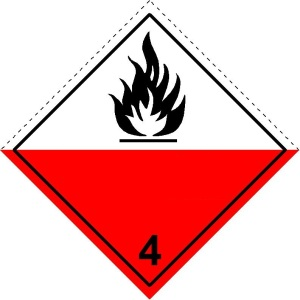 Label of Class 4.2 substances liable to spontaneous combustion