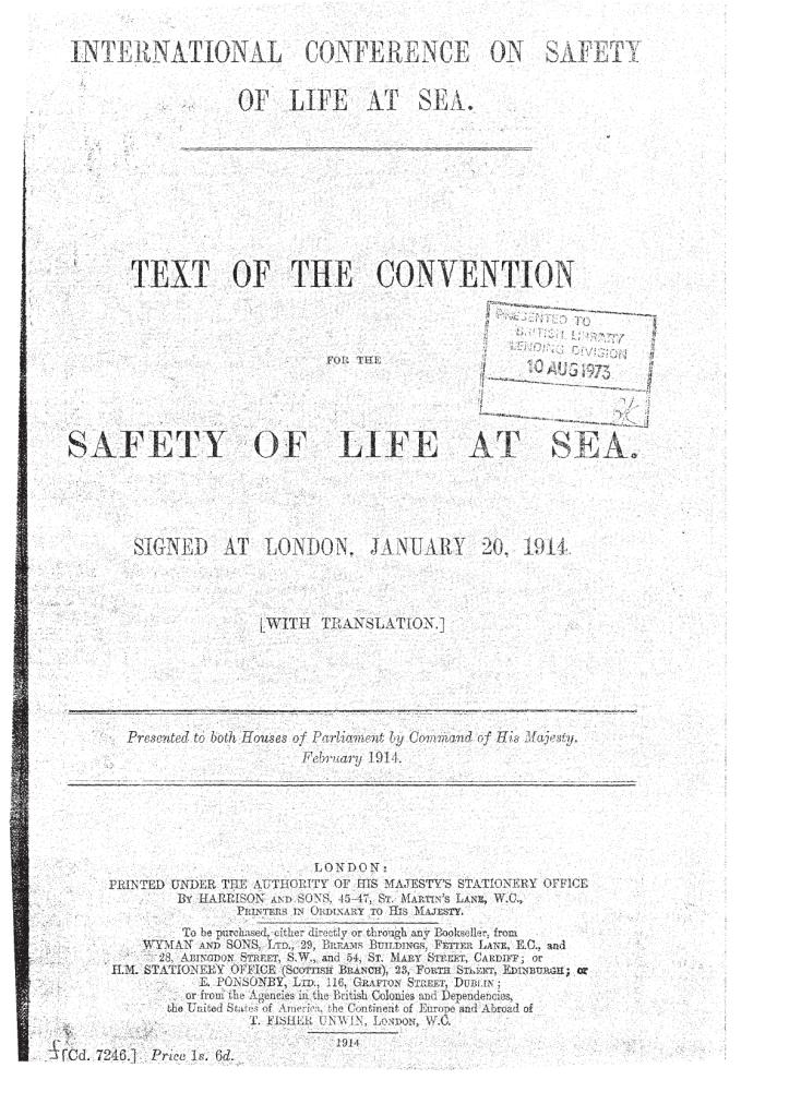 SOLAS COVER 1914