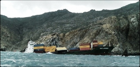 Grounding of Container Ship Near Mykonos, Greece